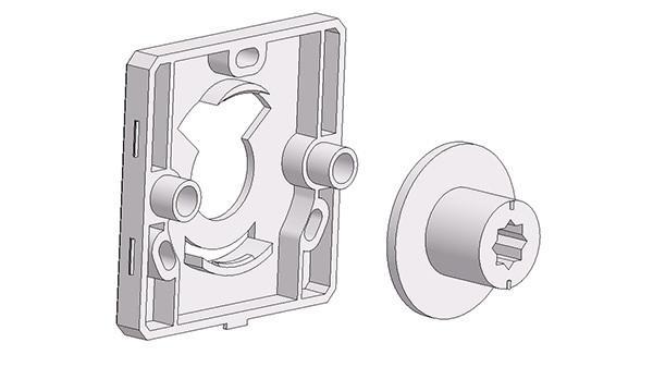 Bocchetta quadra 50x50x7 mm, fori testa vite sporgenti, con volantino libero-occupato quadro altezza gambo 12 mm atp