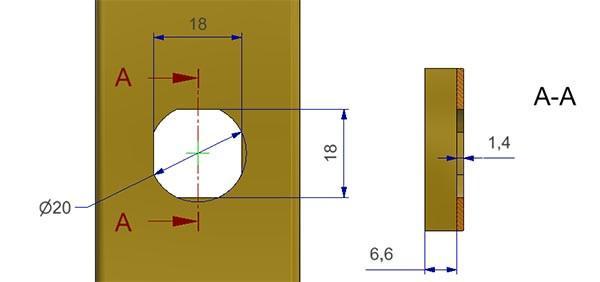 misura del foro piatra o rosetta o bocchetta atp