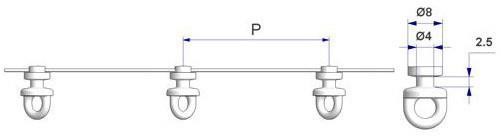 Corda G2 con perno d 3,7 mm, passo -P- 80 mm montata con scorrevole tondo girevole G2, nucleo d 4, testa d 8, altezza 2,5, per binario -U-, avvolta da pellicola protettiva