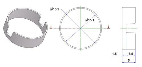 nuova riduzine atp 15x16x5 abbinabile a tutte le rosette e supporti con molla f16 per maniglia fresata