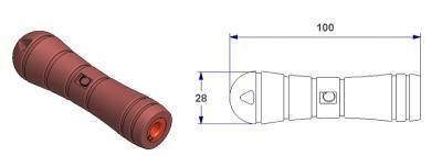 *Tool handle – C -, with conical holed bushing from 3 to 7 mm*