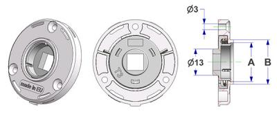Spring-loaded rosette d 45x7 mm, screw head holes without nuts, hole -A- d 16 mm without neck, square 8 mm