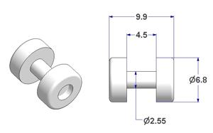 Cylindrical roller d 6,8 mm