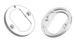 =Rosace de serrure d 45x7 mm, trous pour tête vis, trou OZ (patent) 22x32 mm=