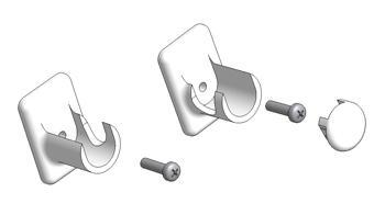 End bracket set for double-use rod, with screws and bi-adhesive, for front or lateral mount