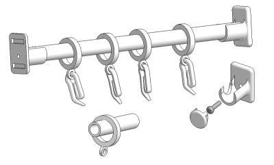 Double-use curtain rod 50 cm with accessories