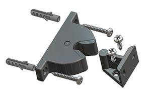 =Door-stop clip with floor and wall junction with mounting screws and plugs=