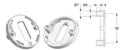 =Key rosette d 50x7 mm, screw head holes with nuts, OB hole (oval)=