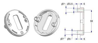 =Key rosette d 50x7 mm, screw head hole and self-tapping screw hole with nuts, OB hole (oval)=