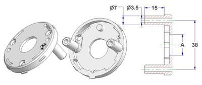 =Rosette d 50x7 mm with tab, self-tapping screw holes with nuts 15 mm, hole -A- d 16 mm, without neck, for spring=