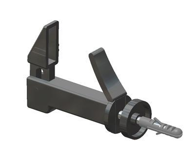 Shutter stay with tilt head, flexible damper, screw and plug for fixation, for shutters from 44 to 65 mm