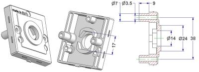 =Square rose 50x50x10 mm, self-tapping screw holes with nuts, hole d 14 mm, neck d 24 mm, with hexagon 17 mm for door knob=