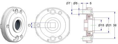 Spring-loaded rosette d 52x10 mm, screw head holes with nuts, hole d 15 mm, neck d 21 mm, square 8 mm