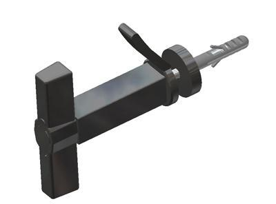 Butterfly shutter holder, with flexible damper, screw and fixing plug, for shutters from 44 to 65 mm