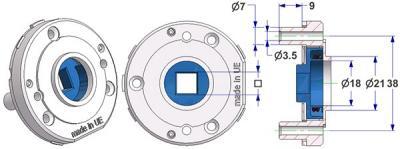 Rozeta d 52x10 mm, otwory śruby samogwintujące wypukłe, otwór d 18 mm, szyjka d 21 mm, ze sprężyną prawe-lewe, kwadrat 8 mm
