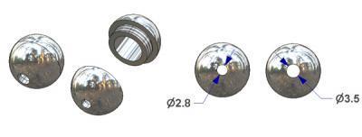 Ball cord condenser d 14 mm screwable, 3 g