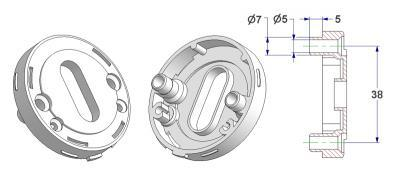 Key rosette d 52x10 mm, screw head holes with nuts, OB hole (oval) 10,5x24 mm