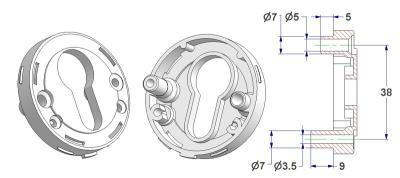Key rosette d 52x10 mm, screw head hole and self-tapping screw hole with nuts, PZ hole (yale)