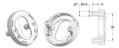 =Key rosette d 52x10 mm, self-tapping screw holes with nuts, OZ hole (oval cylinder) 18x32 mm=
