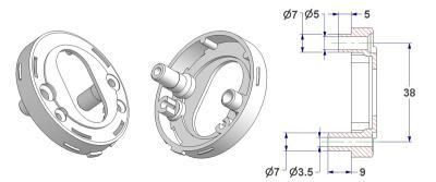 =Key rosette d 52x10 mm, screw head hole and self-tapping screw hole with nuts, OZ hole (oval cylinder) 18x32 mm=