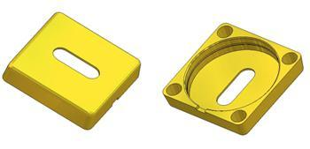 *Square key rosette 53x53x11 mm, OB hole (oval) 8,5x20,5 mm*