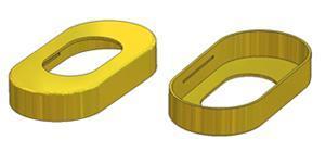 Oval key rosette 30x60x10(0,8) mm, OB hole (oval union) 18,5x32,5 mm