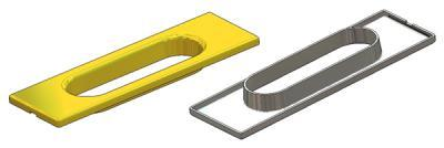 Rectangular flush pull 39x125(1,0) mm, for sliding doors