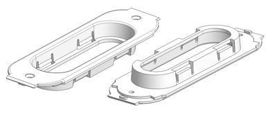 Support pour fond (1,0) et poignée cuvette rectangulaire 39x125 mm pour porte coulissante