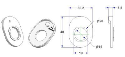 Universal support T7 30x40 mm, hole d 16 mm, for spring