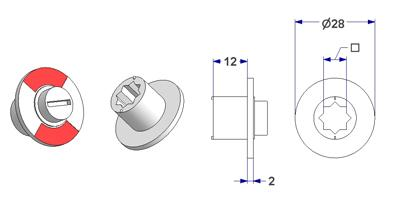 =Free-engaged handwheel d 28x2 mm, square 8 mm=