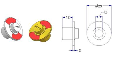 =Free-engaged handwheel d 29x2 mm, square 8 mm, height 12 mm=