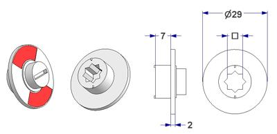 Free-engaged handwheel d 29x2 mm, square 6 mm, height 7 mm