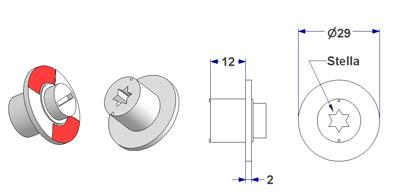 =Free-engaged handwheel d 29x2 mm, 6 points star shaped hole, height 12 mm=