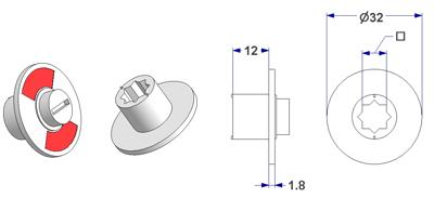 Free-engaged handwheel d 32x2 mm, square 8 mm