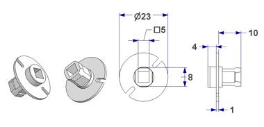 =Free-engaged handwheel d 23x1 mm, square through-hole 5 mm=