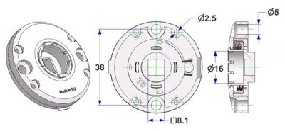 Spring-loaded bulged rosette d 47,5x11 mm, screw head holes without nuts, hole d 16 mm, without neck, square 8 mm