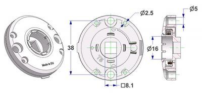 Roseta d 47,5x11 mm, convexa, agujeros afeitados para testa tornillo, agujero d 16 mm, sin cuello, con muelle derecha-izquierda, cuadrado 8 mm