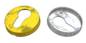 Rosace de serrure ronde d 47,5x11(0,8) mm bombée, trou PZ (yale)