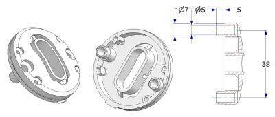 =Bulged key rosette d 47,5x11 mm, OB+PZ hole (oval+yale), screw head holes with nuts=