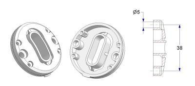 Bulged key rosette d 47,5x11 mm, OB+PZ hole (oval+yale), screw head holes without nuts