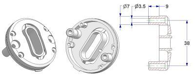 =Bulged key rosette d 47,5x11 mm, OB+PZ hole (oval+yale), self-tapping screw holes with nuts=
