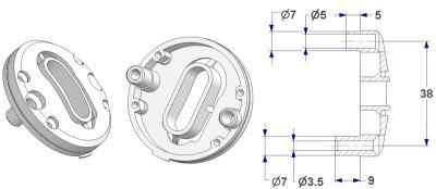 =Bulged key rosette d 47,5x11 mm, OB+PZ hole (oval+yale), screw head hole and self-tapping screw hole with nuts=
