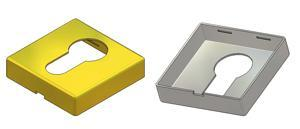 Square Key rosette 45x45x10(0,8) mm, PZ hole (yale)