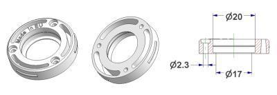 =Rosette d 35x8 mm, screw head holes, for magnet d 20x3 mm=