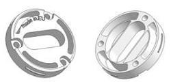 Key rosette d 35x8 mm, screw head holes, OB hole (oval)