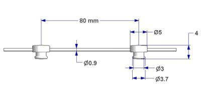 Шнур G2 с круглым держателем диаметром 3,7 мм, шаг 80 мм