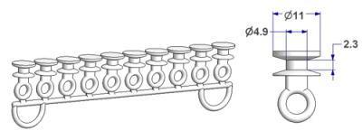 Round glider, nucleus d 5 mm, for -U- rail (strip of 10 pieces)