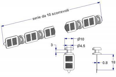 Round sew-in glider, nucleus d 4,5 mm, for -U- rail (strip of 10 pieces)