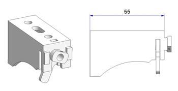 Кронштейн 55 мм с рычагом, для крепления рельса -U- к стене и потолку, модель -B1-