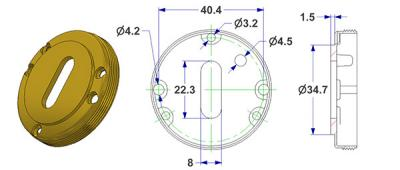Key rosette d 50x10 mm, OB hole (oval), turned and threaded